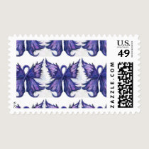Purple Cancer Ribbon with Butterfly Wings Postage