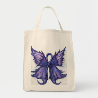 Purple Cancer Ribbon with Butterfly Wings Tote Bag