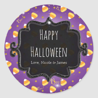 Purple Candy Corn & Gold Dots Whimsical Halloween Classic Round Sticker