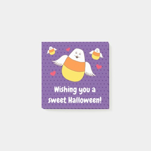 Purple Candy Corn Sweet Halloween Wishes  Post-it Notes