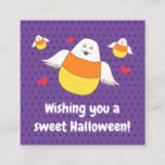 Purple Candy Corn Sweet Halloween Wishes Square Bu Square Business Card
