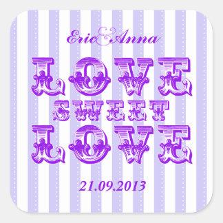 Purple Candy Stripe LOVE SWEET LOVE sticker