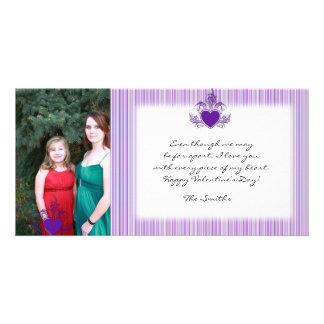 Purple Candy Stripe Valentine Photo Card