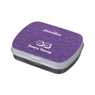 Purple Candy Tin Party Favor 65 Years Young