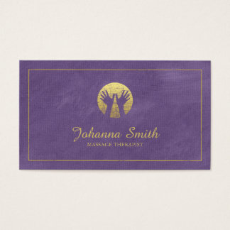 Purple Canvas Golden Frame, Hands Massage Therapy Business Card