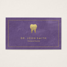 Purple Canvas Golden Frame & Tooth -  Dentist Business Card at Zazzle