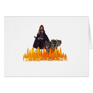 Purple caped vampire with 3 headed dog greeting card