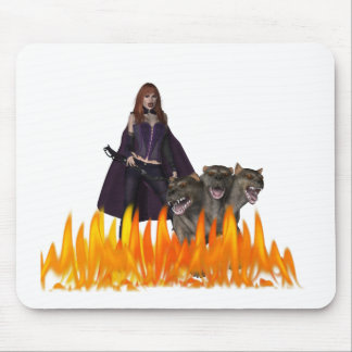 Purple caped vampire with 3 headed dog mouse pad
