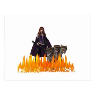 Purple caped vampire with 3 headed dog postcard