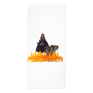 Purple caped vampire with 3 headed dog rack card