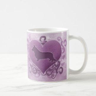 Purple Cardigan Welsh Corgi Valentine Coffee Mug
