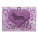 Purple Cardigan Welsh Corgi Valentine's Day Card