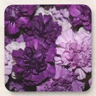 Purple Carnations Flowers Arrangement Beverage Coaster