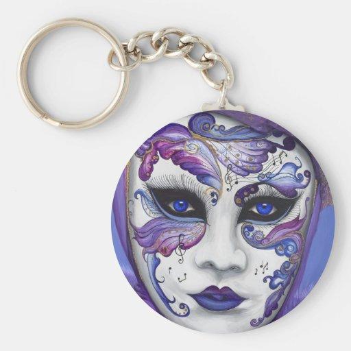 Purple Carnival Mask by PSOVART Basic Round Button Keychain