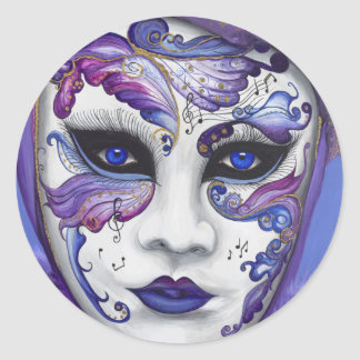 Purple Carnival Mask by PSOVART Classic Round Sticker