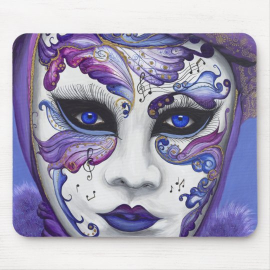 Purple Carnival Mask by PSOVART Mouse Pad