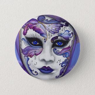 Purple Carnival Mask by PSOVART Pinback Button