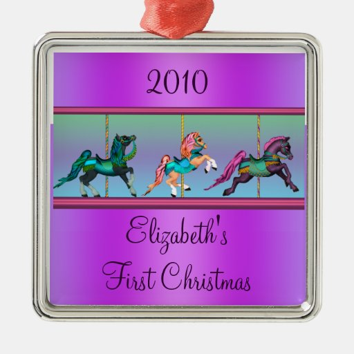 Purple Carousel Ponies Babys First Christmas Square Metal Christmas Ornament