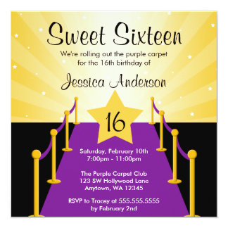 Purple Carpet Hollywood Sweet 16 Birthday Party Card