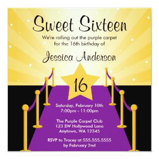 Purple Carpet Hollywood Sweet 16 Birthday Party Custom Invitations