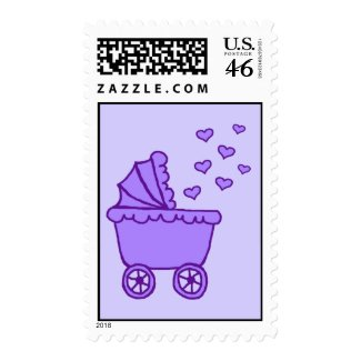 Purple Carriage & Hearts Postage Stamps stamp