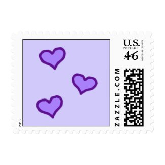 Purple Carriage & Hearts Small Postage Stamps stamp
