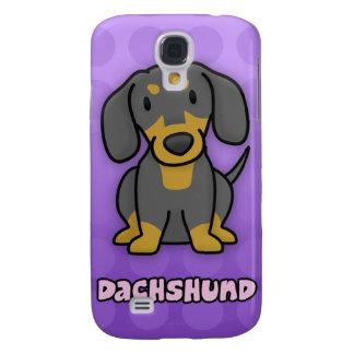 Purple Cartoon Black and Tan Dachshund Galaxy S4 Covers