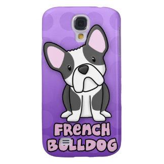Purple Cartoon Black & White French Bulldog Galaxy S4 Cases