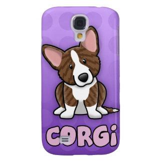 Purple Cartoon Brindle Cardigan Welsh Corgi Galaxy S4 Case