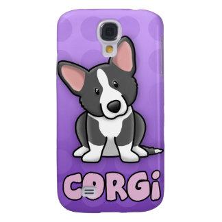 Purple Cartoon BW Cardigan Welsh Corgi Samsung Galaxy S4 Covers