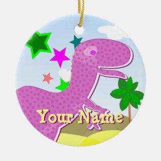 Purple Cartoon Dinosaur Ornament with Name