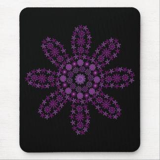 Purple cartoon flower black mouse pad