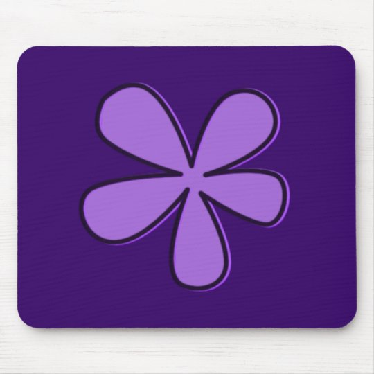 Purple Cartoon Flower Mouse Pad