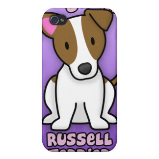 Purple Cartoon Jack Russell Terrier Cover For iPhone 4