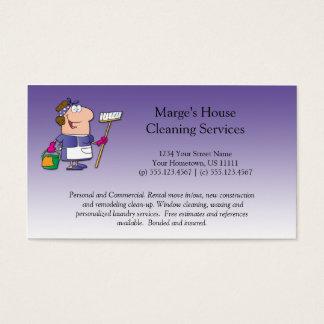 Purple Cartoon Maid House Cleaning Customer Loyalt Business Card