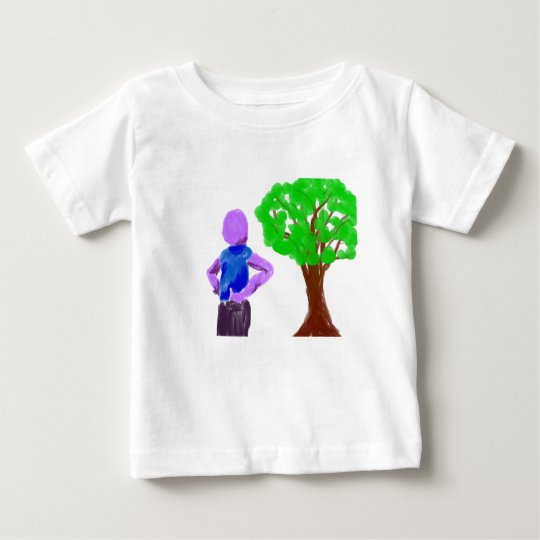 Purple Cartoon man and green oak tree Baby T-Shirt
