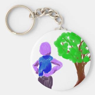 Purple Cartoon man and green oak tree Keychains