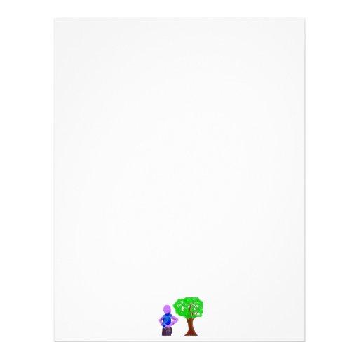 Purple Cartoon man and green oak tree Letterhead