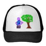 Purple Cartoon man and green oak tree Mesh Hats