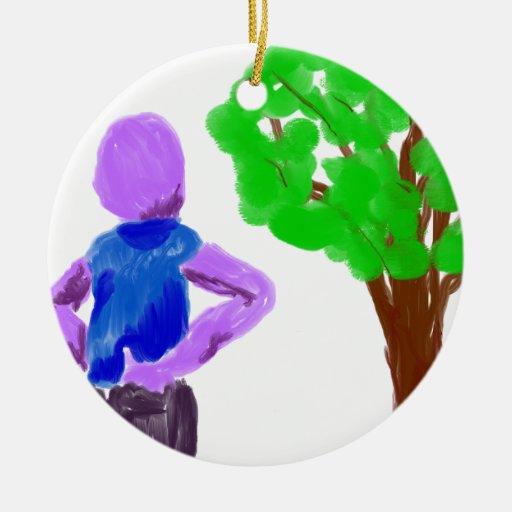 Purple Cartoon man and green oak tree Christmas Tree Ornament