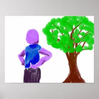 Purple Cartoon man and green oak tree Poster