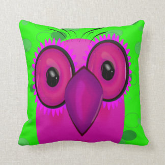 Purple Cartoon Owl d Throw Pillow