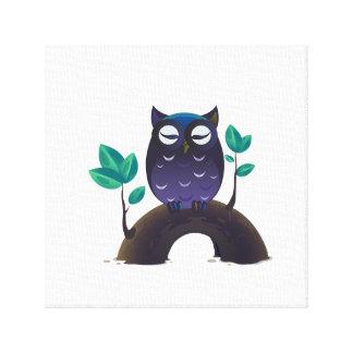 Purple Cartoon Owl on a Branch Canvas Print