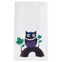 Purple Cartoon Owl on a Branch Small Gift Bag