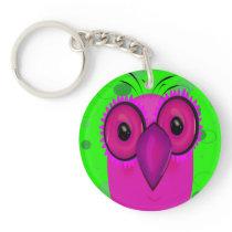 Purple Cartoon Owl on a Lime Green Background Keychain
