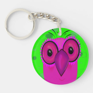 Purple Cartoon Owl on a Lime Green Background Keychain