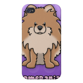 Purple Cartoon Red Pomeranian iPhone 4 Covers