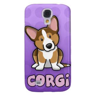 Purple Cartoon Sable Cardigan Welsh Corgi Samsung Galaxy S4 Case