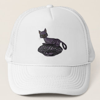 Purple Cartoon Style Cat Napping Trucker Hat