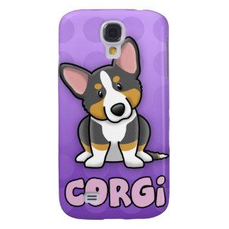 Purple Cartoon Tri Cardigan Welsh Corgi Galaxy S4 Covers